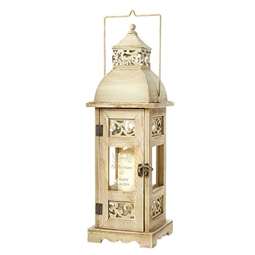 Casa Vivente Holz Laterne zur Hochzeit –Personalisiert mit Namen und Datum – Motiv Tauben - romantisches Windlicht – Gartenlicht – Geschenk-Idee zur Hochzeit – Individuelles Hochzeitsgeschenk