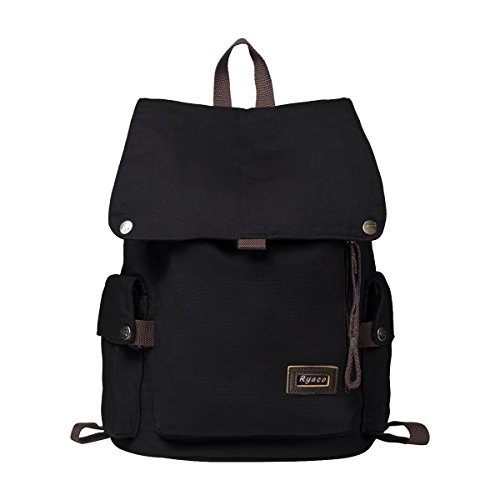 Ryaco zaino casual canvas, zaino tela unisex / uomo / donna porta pc backpack per sportivo, scuola, viaggi, weekend trip, camping e outdoor(nero)