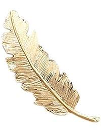 Clips de pelo Mytobang 2PCS Retro Moda Metal Hoja Plumas Barrette horquilla Hair Clip brillo Headwears Mujeres Accesorios de pelo Ponytail clip (oro + Plata)