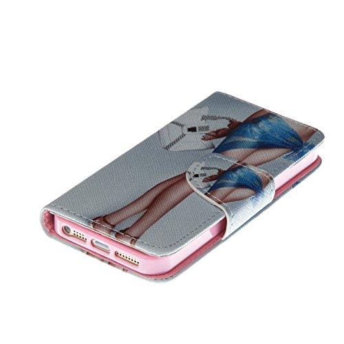 MOONCASE Étui pour Apple iPhone 5 / 5S Printing Series Coque en Cuir Portefeuille Housse de Protection à rabat Case Cover LD20 LD04 #0226
