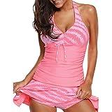 WUSIKY Tankini Sets Damen/Teenager Mädchen Bikini Set Paisley Swimwear Push-Up Gepolsterter BH Draht Kostenloser BH Mode Lässig Strandbadeanzug 2019 New Womens Badeanzug(Medium,Rosa)