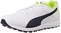 Puma Mens TeamRubber White, New Navy and Safety Yellow Cricket Shoes - 10UK/India (44.5EU)