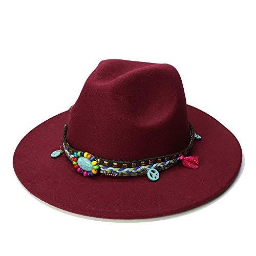 1 stück Neue Heiße Unisex Jazz Hut Frauen Männer Casual Trendy Winter Panama Cap Cowboy Fedora Gangster Cap Papa Hut (Farbe : Weinrot, Größe : 56-58CM)