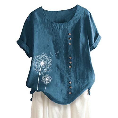 Lazzboy Lose Knopf Plusgrößen Druck Boho Tanic Hemd Blusen Oberseiten Frauen Damen Sommer Große Größen Plus Size Solide Print Tägliche Bluse Strand Shirt Tops Kurzarm(Blau,3XL)