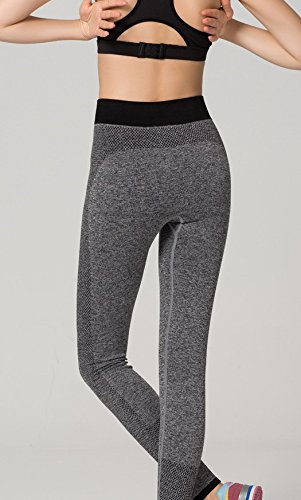 Bigood Pantalon de Sport Femme Jogging Yoga Loisir Legging Elastique Gris