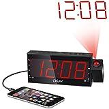 """OnLyee 1.8"""" Regulable LED Reloj De Proyección Con Radio FM,USB,Carga Doble Alarma, Batería De Backup,Sleep Timer,Snooze"""