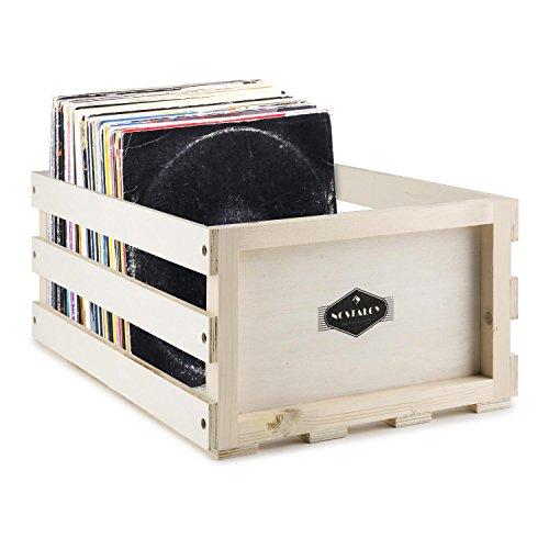 Nostalgie by auna • Schallplatten-Kiste • Platten-Box • Schallplatten-Box • Holzkiste • Multiplex-Holz • unbehandelt • ideal zum individualisieren mit Holzlasuren • für 75 LP • beige