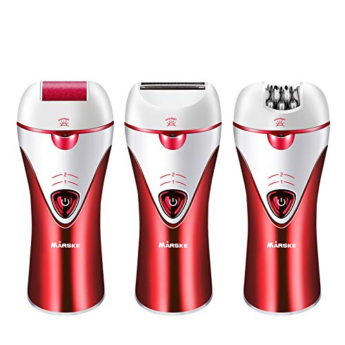 Women's Hair Removal Razor, MARSKE Ladies Electric Painless Shaver Trimmer Callus Remover Waterproof Wet/Dry for Body Underarms Armpit Bikini Facial Cordless (Color : Red)