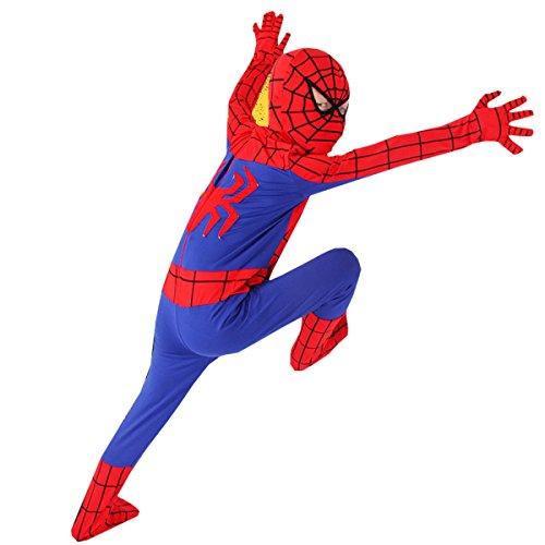 Nihiug Sixty Kinder Spider-Man Schauspielerei Kleid Cosplay Eltern-Kind Kostüm Halloween Kostüm Tamper Humor Kürbis Versuchung Damen,120Cm(120-130)