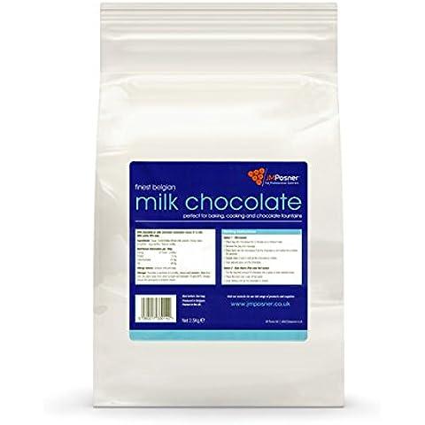 JM Posner Cioccolato belga per fontana cioccolato, latte intero, 2,5 kg (cioccolato belga per fonduta)
