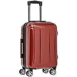 AmazonBasics - Oxford - Valise rigide à roulettes pivotantes - 55 cm, Rouge