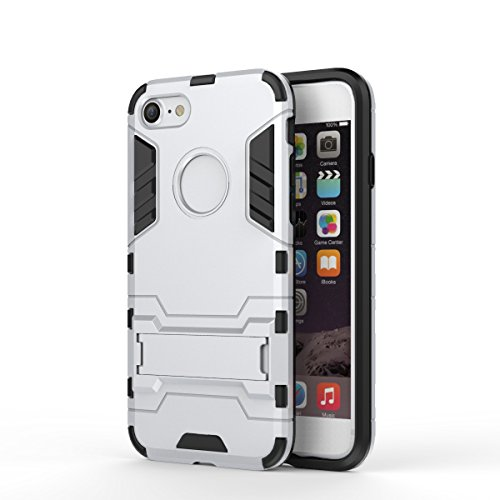 iPhone Case Cover IPhone 7 Cover, 2 en 1 Nouveau Armor Tough Style hybride Dual Layer Armor Defender PC Hard Cases avec support Housse antichoc pour iPhone 7 ( Color : Rose Gold , Size : IPhone 7 ) Silver