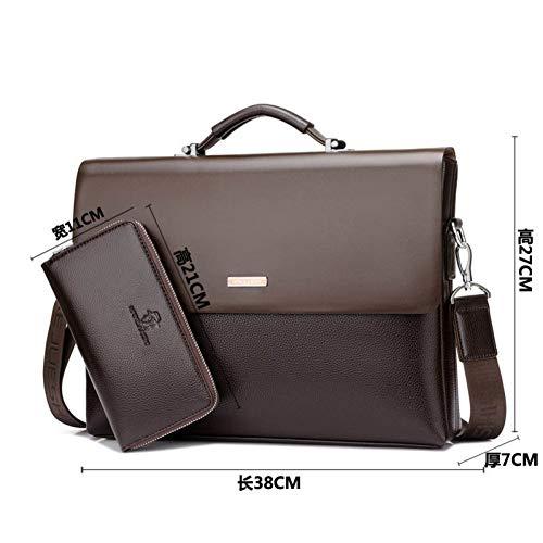 Luxus Aktentasche Aus Leder (LMSHM Aktentasche Für Männer Business BagPu Leder Schwarz Luxus Laptop Bag Office Aktentasche Mit Großer Kapazität)