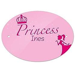 Eurofoto Türschild mit Namen INES und Prinzessin-Motiv | Kinderzimmer-Schild