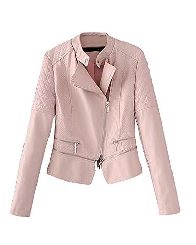 Femmes Casual Biker Jacket Manches Longues Moto Sport En Cuir Pu Veste Pink XL