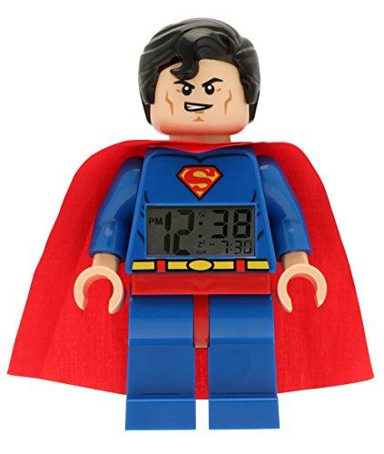 Despertador con luz Infantil con Figurita de Supermán de LEGO DC Comics Super Heroes 9005701|Azul/Rojo|Plástico|24 cm de Altura|Pantalla LCD|Chico Chica|Oficial