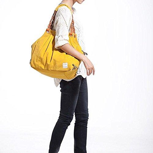 &ZHOU femminile borsa di tela borsa a tracolla tessuto del messaggero di moda 38 * 19 * 35cm , yellow Yellow