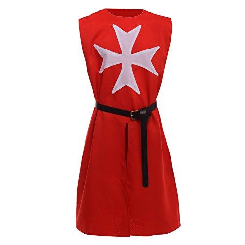 BLESSUME Mittelalterlich Herren Kreuzritter Ritter Tunika Wikinger kostüm (Rot) (Rot Mittelalterlichen Ritter Kostüme)