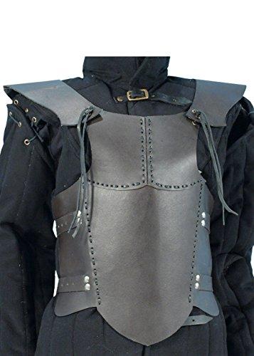 Ready For Battle LARP Männer Lederrüstung Schwarz oder Braun Größe S Mittelalter Schaukampf Wikinger (Anzug Körper Soldat Kostüm)
