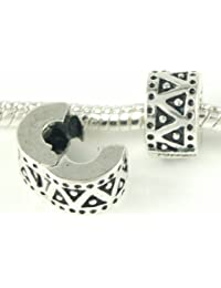 Stone River Sterling Silver Plated Aztec Clip Bead (Fits Pandora, Chamilia, Biagi, Troll Standard Size Bracelet)