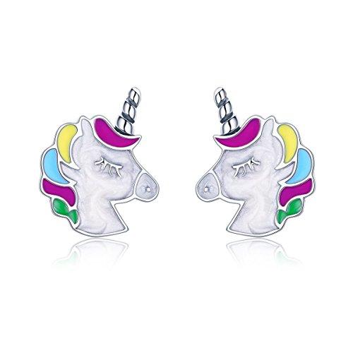Einhorn-Bolzen-Ohrring 925 Sterlingsilber-bunte Gedächtnis-Bolzen-Ohr-Ringe für Frauen - Kristall-herz-bolzen-ohrringe