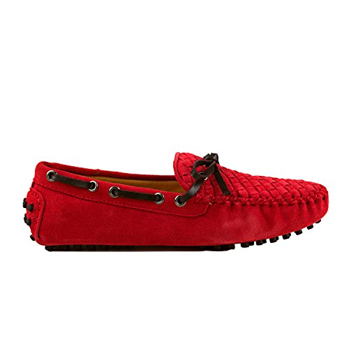 Shenduo Scarpe da Donna - Mocassini Donna di pelle Scamosciata con fiocchetto, loafers scarpe casual D7058 Rosso