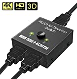 Switch HDMI, GANA Bi-Direction Commutateur Splitter HDMI 2 entrées à 1 sortie / 1 entrée à 2 sorties, Supporte 4K 3D 1080P HDCP Passthrough Switcher HDMI pour HDTV Blu-Ray DVD DVR Xbox etc.