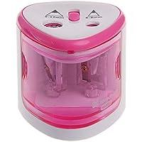 TOOLSTAR Sacapuntas eléctrico, funciona con pilas, sacapuntas automático con 2 agujeros (6 – 8 mm/9 – 12 mm) para estudiantes de escuela en casa, color rosa/plateado/azul, blanco