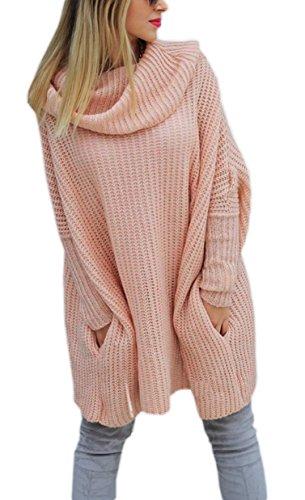 Mikos Modischer Kuschelig Pulli mit ROLLKRAGEN Lässig Pullover Sweater Longshirt Tunika...