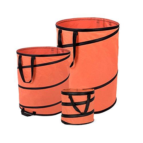 Fundwerk Pop-up Garten-Abfallsack 15L, 85L & 170L im 3er Set | Die Gartenabfallsäcke sind bestens geeignet als Laubsack und für Grünschnitt | orange