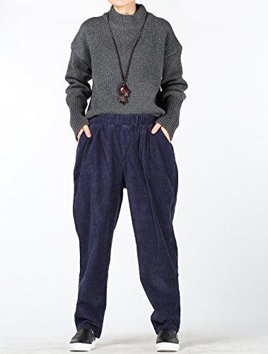 MatchLife Femmes Velours Côtelé Pantalons avec Poches Bleu Marine