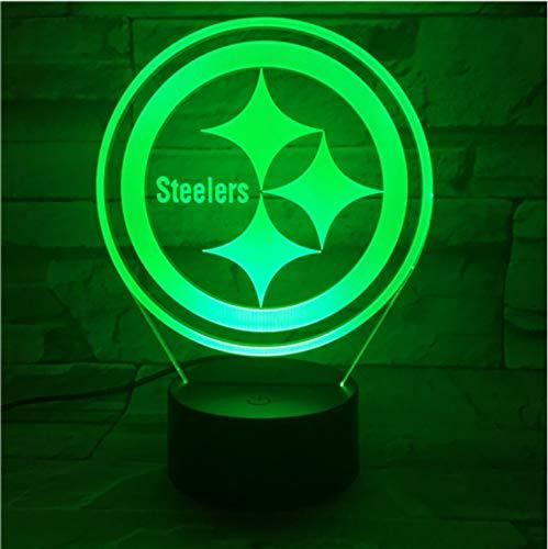Steelers 3D Llevó La Luz De La Noche Con 7 Colores De Luz Para La Decoración Del Hogar Lámpara Visualización Increíble Regalo De Navidad Óptico Para Papá