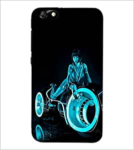 PrintDhaba Rider Girl D-1201 Back Case Cover for HUAWEI HONOR 4X (Multi-Coloured)