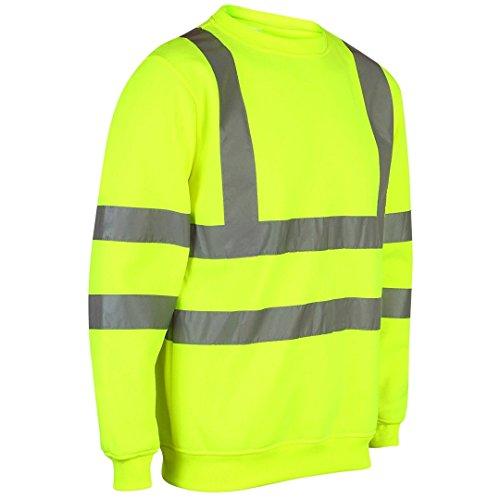 Price comparison product image MyShoeStore® HI VIZ VIS Crew Neck Sweatshirt HIGH Visibility Work WEAR Sweat Shirt Jumper Reflective Tape Band Safety Security Outdoor Leisure Warm Casual Fleece TOP Big Sizes,  Yellow,  L