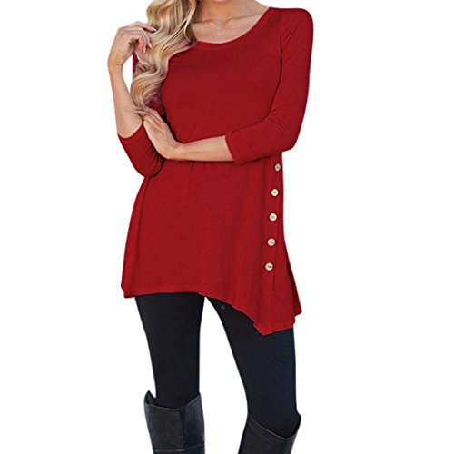 MRULIC Best Selling Ladies Long Sleeve T-Shirt Top Womens Women's Simple Casual Autumn Loose Round Neck Tops Blouse Jumper