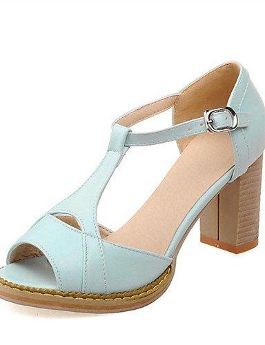 WSS 2016 Chaussures Femme-Mariage / Habillé / Décontracté / Soirée & Evénement-Noir / Bleu / Rose / Blanc-Gros Talon-Talons-Talons-Similicuir white-us5.5 / eu36 / uk3.5 / cn35