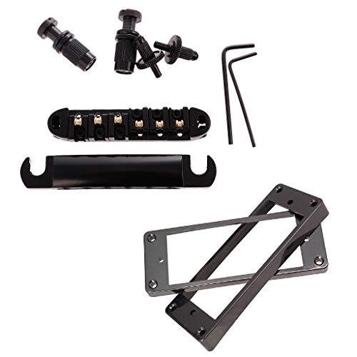FLAMEER Locking Roller Saddle Bridge Set + Humbucker Pickup Ringe für LP-Gitarre