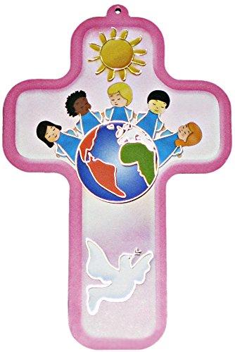 Croix-Crucifix-ROSE-Enfants-autour-de-la-Terre-Paix-et-apaisement