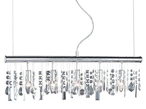 5-flammige Pendelleuchte CRYSTAL mit Filament LEDs, Chrom & klarer Kristallbehang, Länge 80cm
