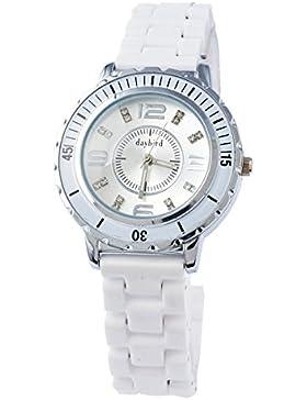 Souarts Damen Weiß Keramik Armbanduhr Wasserdicht Uhr Zifferblatt Quarzuhr Analog Quartzuhr mit Batterie