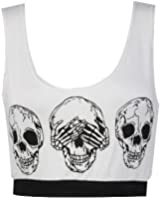 Womens Army Leopard Skull Print Crop Sports Bra Vest Top /Size 8-14 - £4.99 (M/L (UK 12-14), Skull / White)