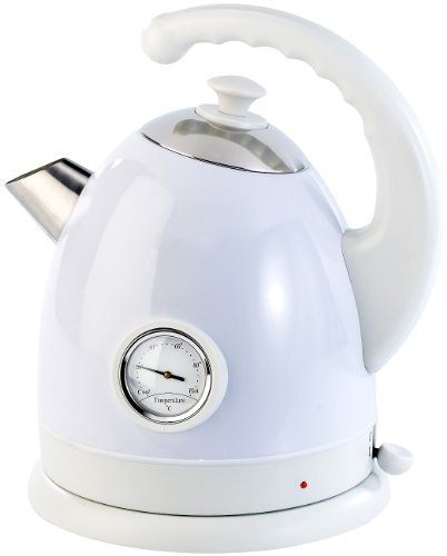 Rosenstein & Söhne Schnurlose Wasserkocher: Wasserkocher WSK-250.rtr mit Temperaturanzeige, 1,7 Liter (Elektro-Wasserkocher Retro)