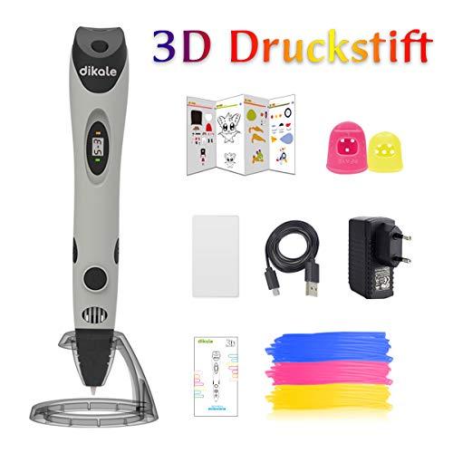dikale 3D Stifte mit PLA Filament 3 Farben 07A 3D Stift für Kinder mit PLA Farben und 250 Schablone eBook, 3D Pen für Erwachsene, Bastler zu kritzeleien, basteln, malen (07A 3D Stift Grau)