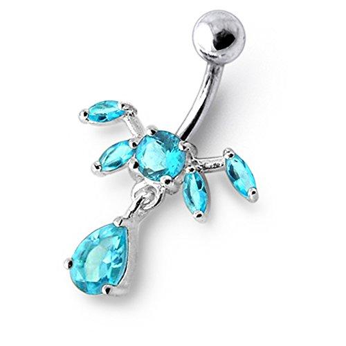 Bijou anneau nombril en argent sterling 925 pierres fantaisies et pendant Banane 14Gx3/8(1.6x10MM) acier chirurgical 316L et boule 5mm Light Blue