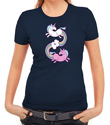 Einhorn Damen T-Shirt mit Unicorns In Love von ShirtStreet Dunkelblau