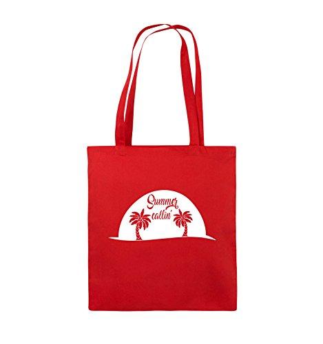 Comedy Bags - Summer callin - PALMEN - Jutebeutel - lange Henkel - 38x42cm - Farbe: Schwarz / Pink Rot / Weiss
