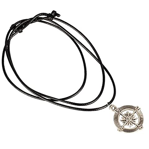 LHWY Women's New Compass Pendant Necklace Choker Chains Charm Black Leather Cord for Girls