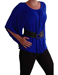 EyeCatchClothing - Misha Womens Batwing Kimono Top with Belt Royal Blue S/M