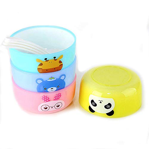 DEALPICK Baby Food Mash and Imported Serve Bowl Set of 4 with Spoon Snack Bowls Non Toxic, Eco Friendly & Stack-able Kids Snack Containers - 1 Set Multi Color (Design and Color May Vary)