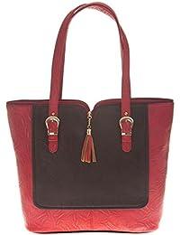Aliado Faux Leather Solid Maroon & Black Zipper Closure Handbag For Women
